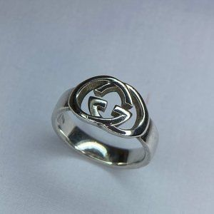 Authentic Gucci Double G Silver Ring Unisex 7.25